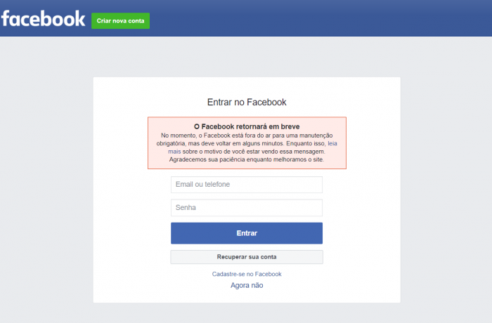 Facebook, WhatsApp e Instagram sofrem instabilidade e ficam fora do ar nesta quarta-feira