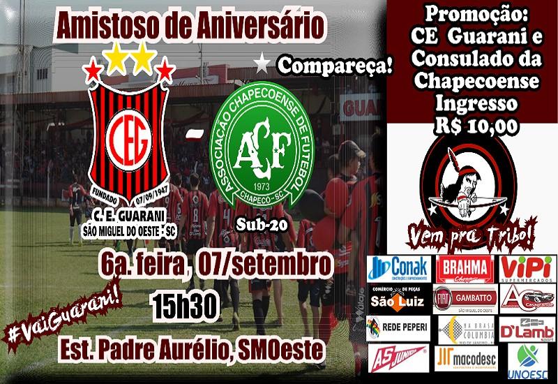 Peperi transmite amistoso de aniversário entre Guarani e Chapecoense sub-20