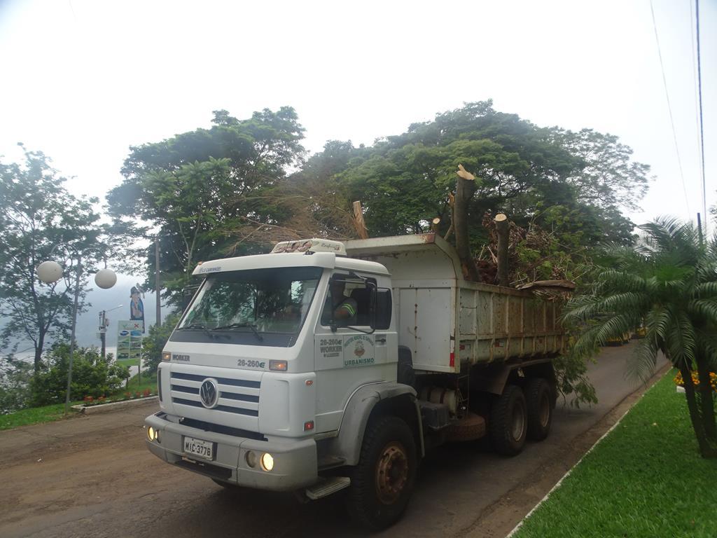 Itapiranga realiza poda de árvores na Praça dos Pioneiros