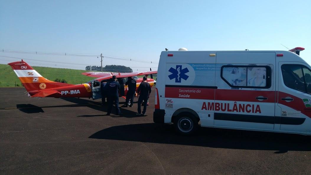 Paciente de São Miguel do Oeste é transferido de avião à Blumenau