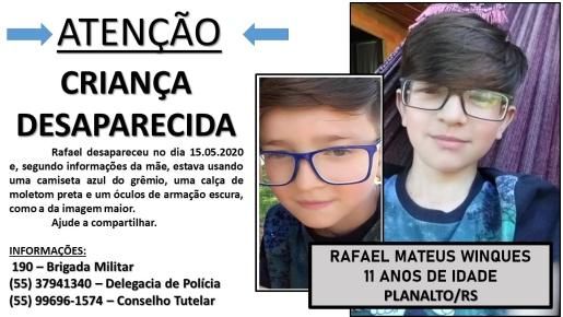 Polícia faz buscas por menino de 11 anos desaparecido desde sexta-feira em Planalto-RS