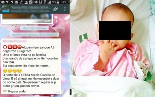 Campanha falsa pede doação de sangue para uma menina chamada Elisa
