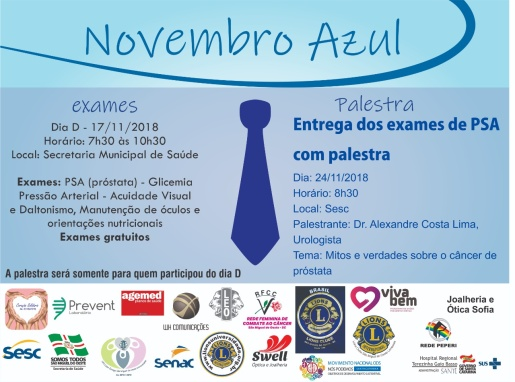 Novembro Azul terá atendimento em saúde dedicado aos homens