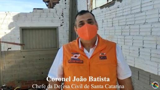 VÍDEO: Chefe da Defesa Civil de Santa Catarina visita região