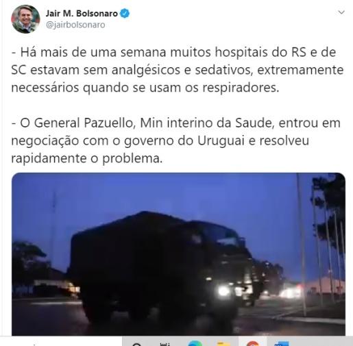 Bolsonaro posta vídeo sobre importação de medicamentos para SC e RS