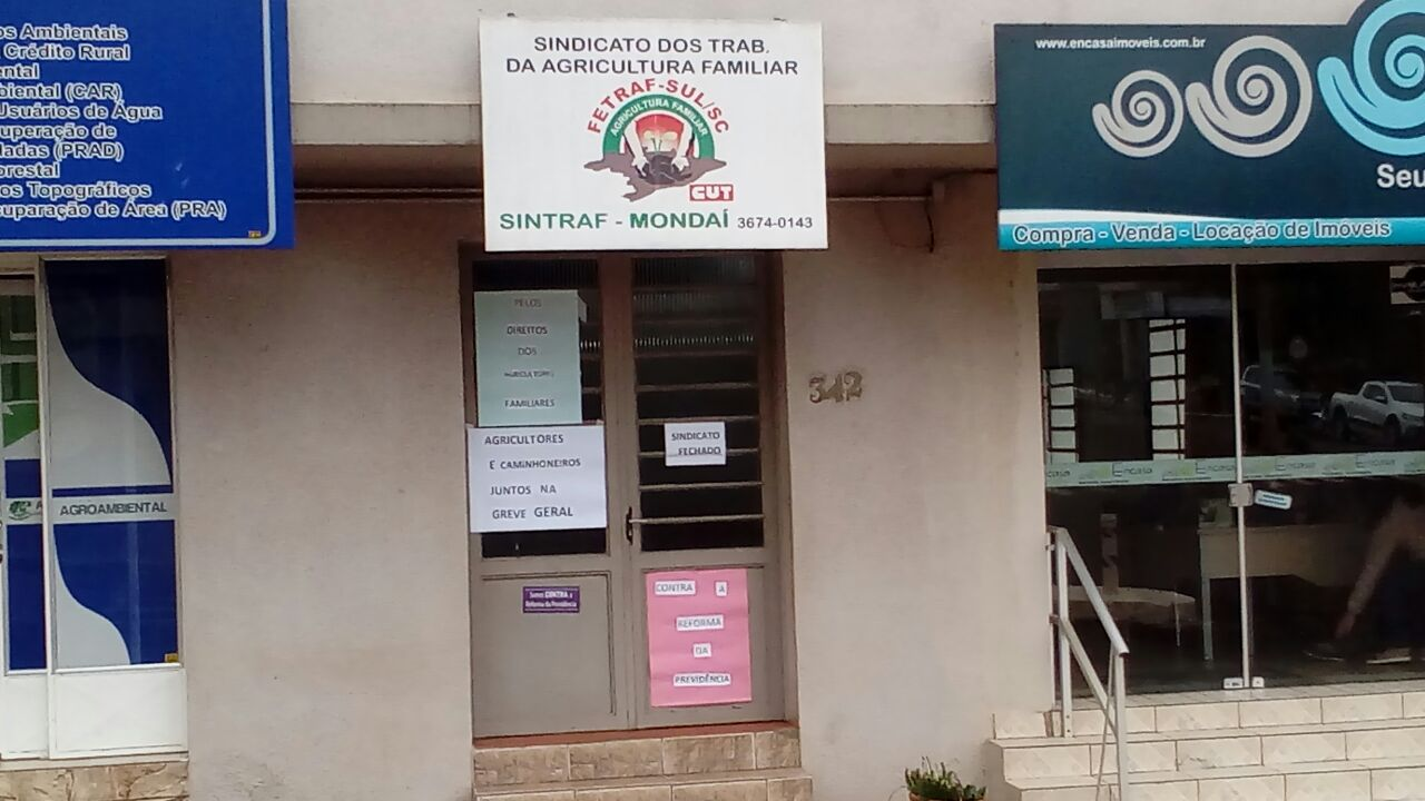Sindicato da Agricultura Familiar de Mondaí fecha as portas em apoio à greve