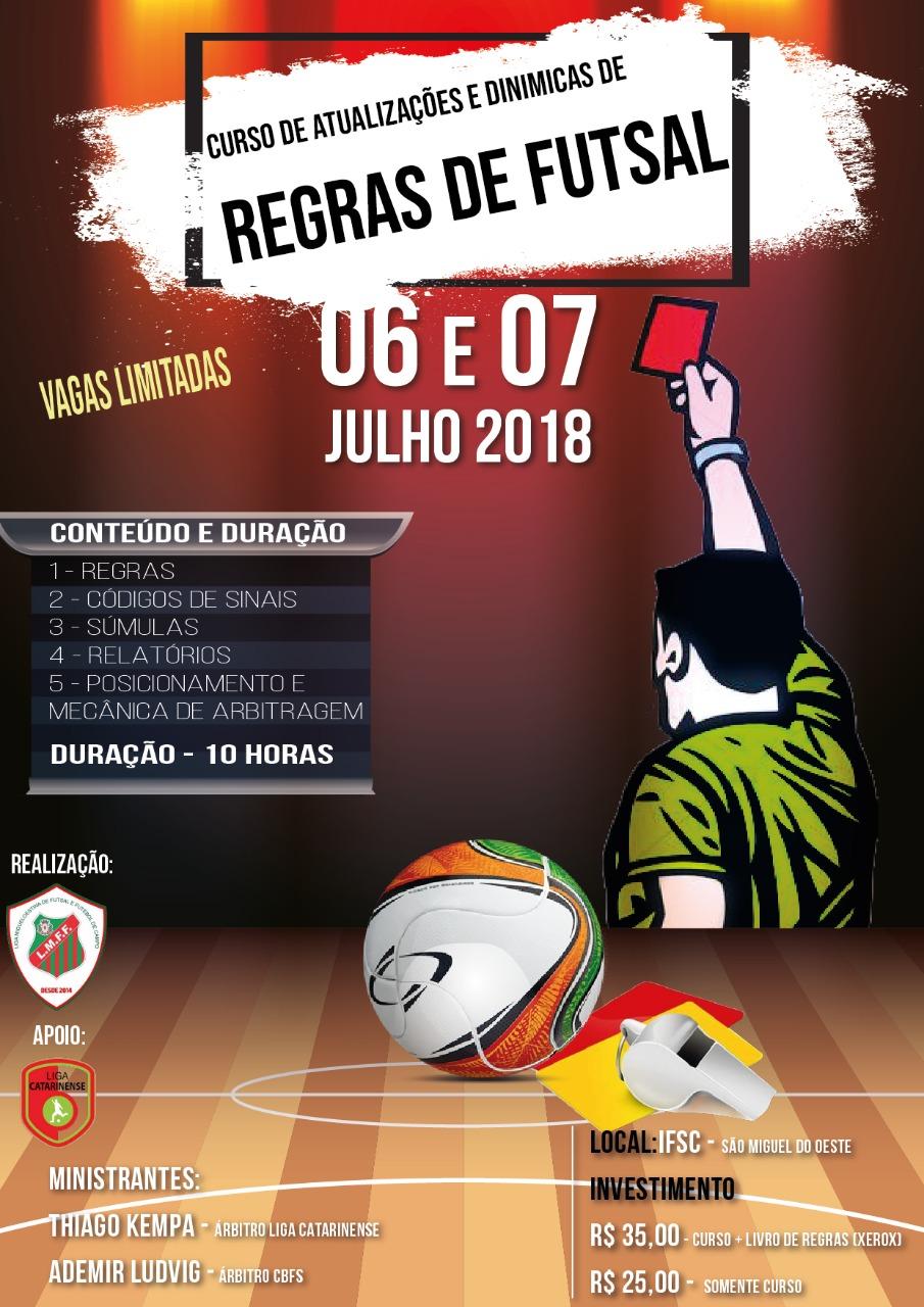 Liga realiza curso de atualizações e dinâmicas de regras de futsal