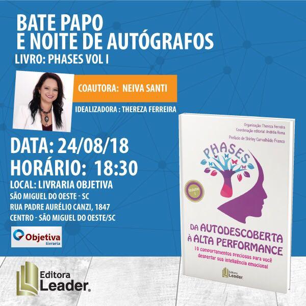 Coautora do livro Phases Volume I estará no município