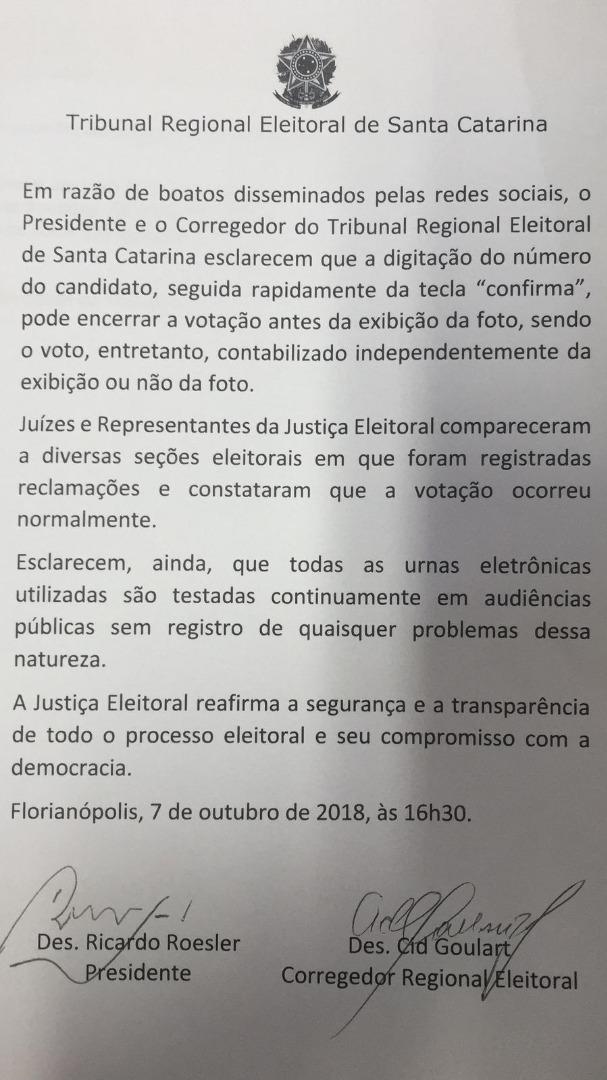 Presidente do TRE divulga nota sobre reclamações em urnas